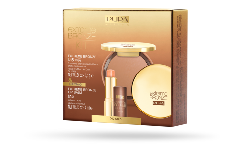 EXTREME BRONZE TANNING COMPACT FOUNDATION SPF 15 UVA/UVB + EXTREME BRONZE LIP BALM - PUPA Milano
